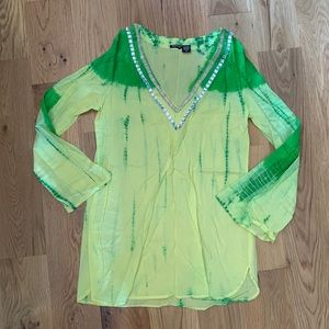 NWOT Tie-dye green and yellow cover up